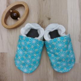 Chaussons Tissu et Cuir Asanoha Bleu