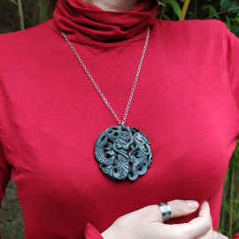 Pendentif - Jade noir - Siréne