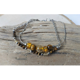 Bracelet double Ambre/Citrine/Oeil de tigre