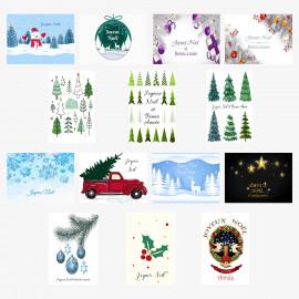 Carte joyeux noël en français lot de 14 cartes noël papier brillant