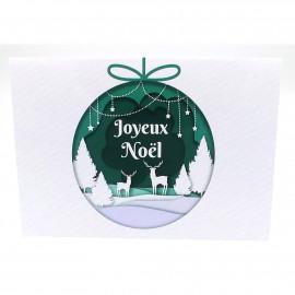 Carte joyeux noël en français carte boule de noel avec enveloppe papier brillant