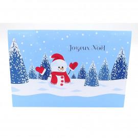 Carte joyeux noël en français ou en anglais carte bonhomme de neige avec enveloppe papier brillant