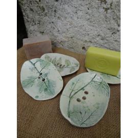 Porte savon céramique, empreintes végétales