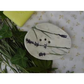 Nature Lavande, porte savon céramique, empreintes végétales, plat de savon