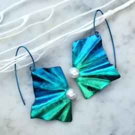 Boucles d'oreilles Solfado titane et perles de culture, bleu et vert