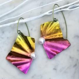 Boucles d'oreilles Solfado titane et perles de culture, jaune et rose