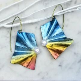 Boucles d'oreilles Solfado titane et perles de culture, Bleu et jaune