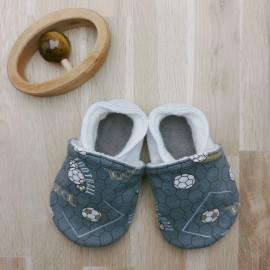 Chaussons Tissu et Cuir Foot Gris