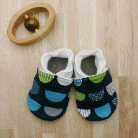 Chaussons Tissu et Cuir Bleu Marine Vert Gris
