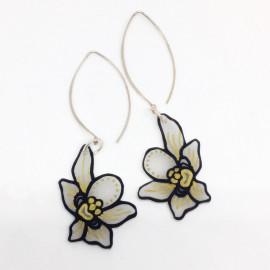 Boucles d'Oreilles Orchidées noir et or