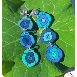 Boucles 3 Roses bleu