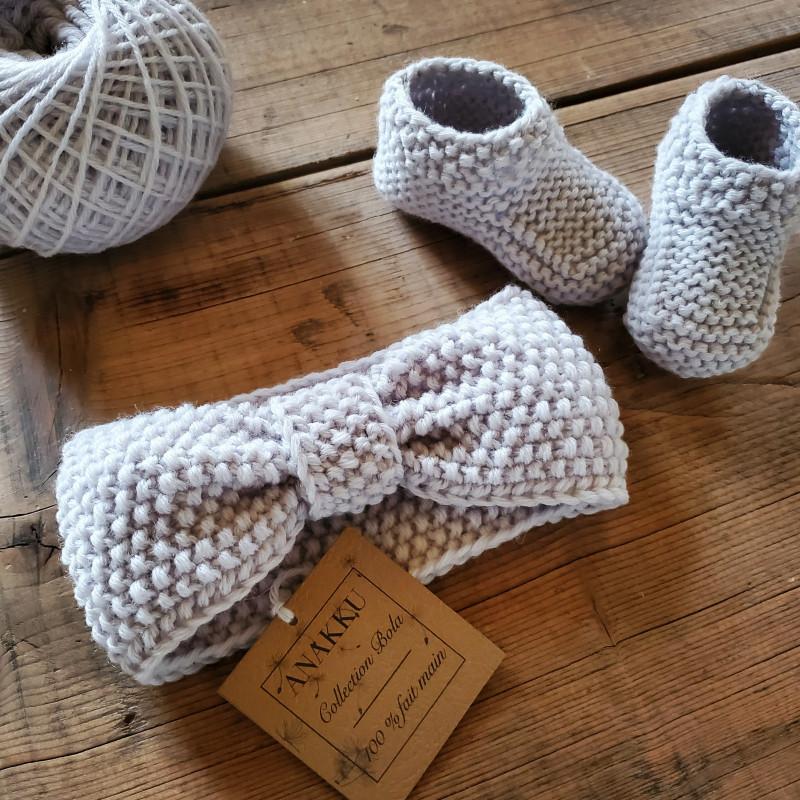 chaussons et bandeau fille cadeau de naissance