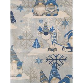 Tissu lutins bleu sur fond bleu - en coton certifié - vendu par 10cm