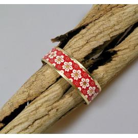 Bracelet manchette, jonc en laiton et papier japonais rouge et blanc