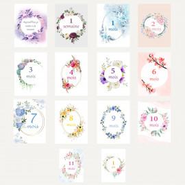 Carte étape bébé milestone florale