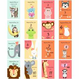 Carte étape bébé ma première année, carte étape bébé moi par mois carte étape bébé milestone motif animaux