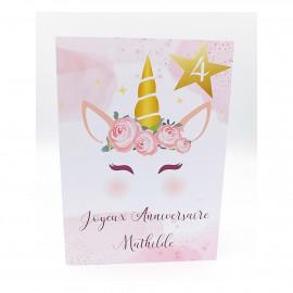 Carte anniversaire fille motif licorne à personnaliser avec enveloppe
