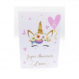 Carte anniversaire fille, carte joyeux anniversaire licorne avec enveloppe à personnaliser