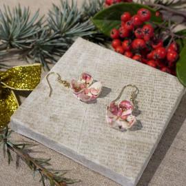 Boucles d'oreilles Rose – Collection «Alice» - Bijou littéraire en papier plié