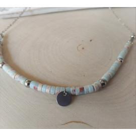Collier en Perles rondelles Heishi Jaspe aqua-terra