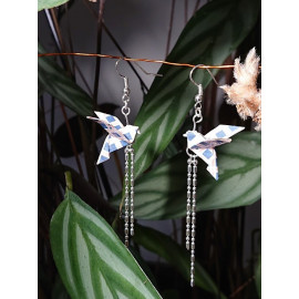 Boucles d'oreilles origami colombe